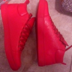 Red leather tennis shoes for men size 10 half